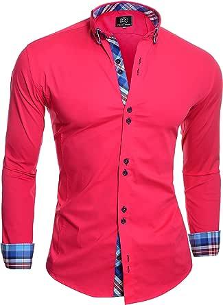 D&R Fashion Smart Shirt with Classic Button Down Collar Slim Fit Italian Design