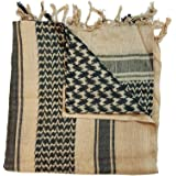 100% Cotton Beige Khaki Sand and Black Shemagh Scarf Arab Keffiyeh Military Desert Head Neck Wrap R.R.P £11.99