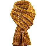 Rough Knit Scarf - Bufanda de Punto Larga con Acabado de Piel auténtica, Bufanda con patrón de Punto de Cable(Manufaktur13/M1
