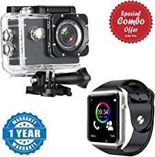 Piqancy Sports Action Camera Ultra HD DV Camcorder 12MP 170 Degree Wide Angle With A1 Bluetooth Smart Watch Support SIM Card and TF Card with Camera Compatible with Xiaomi, Lenovo, Apple, Samsung, Sony, Oppo, Gionee, Vivo Smartphones