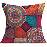 Bohemian Printed Throw Pillow Covers 43cm*43cm Linen Blend Cushion Covers Soft Square Throw Pillow Case for Living Room…