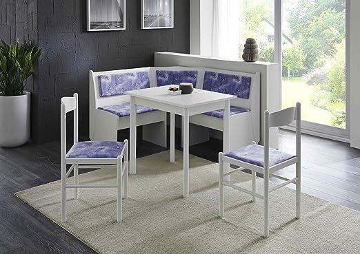 Eckbankgruppe weiß blau  Truhen-Eckbankgruppe weiß; Eckbank, 2 Stühle und Vierfußtisch ...