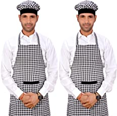 Switchon Checks Kitchen Cotton Apron For Home Hotel And Cafe Pack Of 2,Black & White,30Lx23W Inch,Cotton