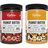 Nutrio 100% Natural Crunchy + Chocolate Creamy Peanut Butter 1Kg | Combo Pack (500gm of each) | No Added Oils & Salt, Zero Ch