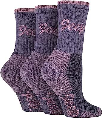 JEEP TERRAIN - 3 Pairs JEEP Cotton Walking Hiking Socks for Ladies, Rose/Purple (4-8)