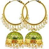 Biyu Being With You 22kt Diva Collection Gold Plated Pearl Meenakari Jhumka Earring For Women, Olive Green