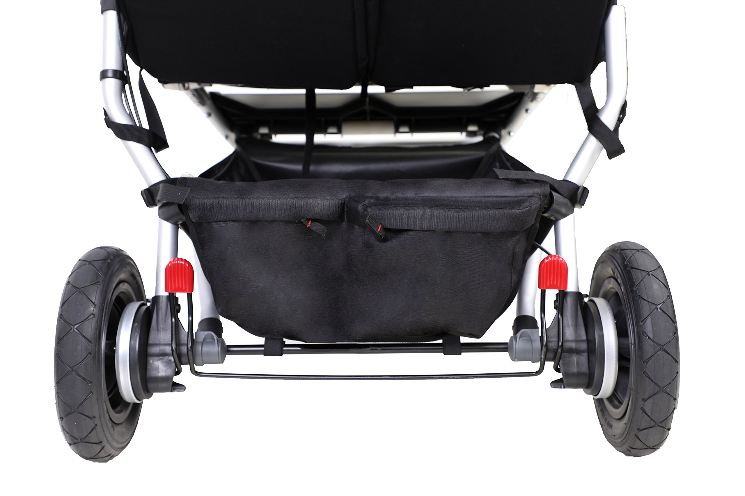 "Mountain Buggy Duet v3 Double Stroller - Marine Mountain Buggy With a wheelbase width of just 63cm/25"": duet is the same width as a single buggy: and fits seamlessly through doorways Hand operated control brake for slowing down: providing additional confidence and superior handling when pushing the extra weight of two Superior compact one hand fold: with automatic frame lock and stand fold 10"