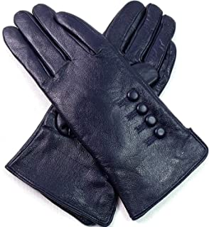 Womens Ladies 100/% Dark Red Leather Gloves With Band Warm Winter Fleece Lined