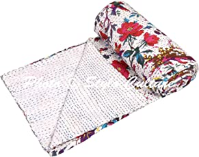 Indian Kantha Cotton Bedspread Single White Cotton Bird Hand Stitched Bedding Bed Cover by Stylo Culture