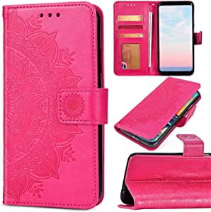 Coque Samsung Galaxy A50 Étui Housse Rabat en Cuir Mandala Fleur Magnétique Portefeuille avec Support (Vert)