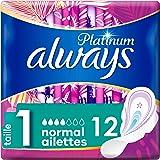 always Platinum Normal Serviettes Hygiéniques avec Ailettes Taille 1 12 Unité