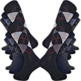 Kensington® Men's 6 and 12 pairs Black Cotton Smart Design Socks Breathable Multipack 6-11 UK Argyle Stripes Heel & Toe Eco-F