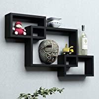 Dime Store Interlock Wall Mount Wall Shelf for Living Room and Home Wall Decor Items (Set of 3, Black)