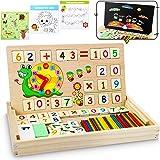 lenbest Matemáticas & Reloj Juguetes Caja Madera, Juguete Montessori Multifuncional de Reloj & Operación Matemática & Pintura