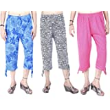 Sonia collectionWomen's Comfort Capri, Night Pyjamas for Women, Night Dress, Lounge Wear, Printed 3/4 Pyjama(Pack of 3 Pcs),