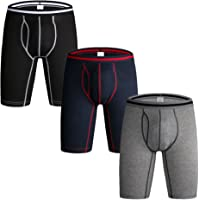 Nuofengkudu Pack of 3 & 4 Men's Long Leg Boxer Shorts Briefs Cotton Multipack Open Fly Pouch Sports Underpants Underwear…