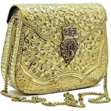 Trend Overseas Handmade Bridal Women's Antique Brass Purse Ethnic Metal Clutch Gift item