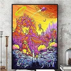 Fenghong Wand Kunst Dekor Poster Kunstwerke, Rick und Morty Season 3 Silk Poster Wandbild Malerei bunten Seidentuch Home Kunst