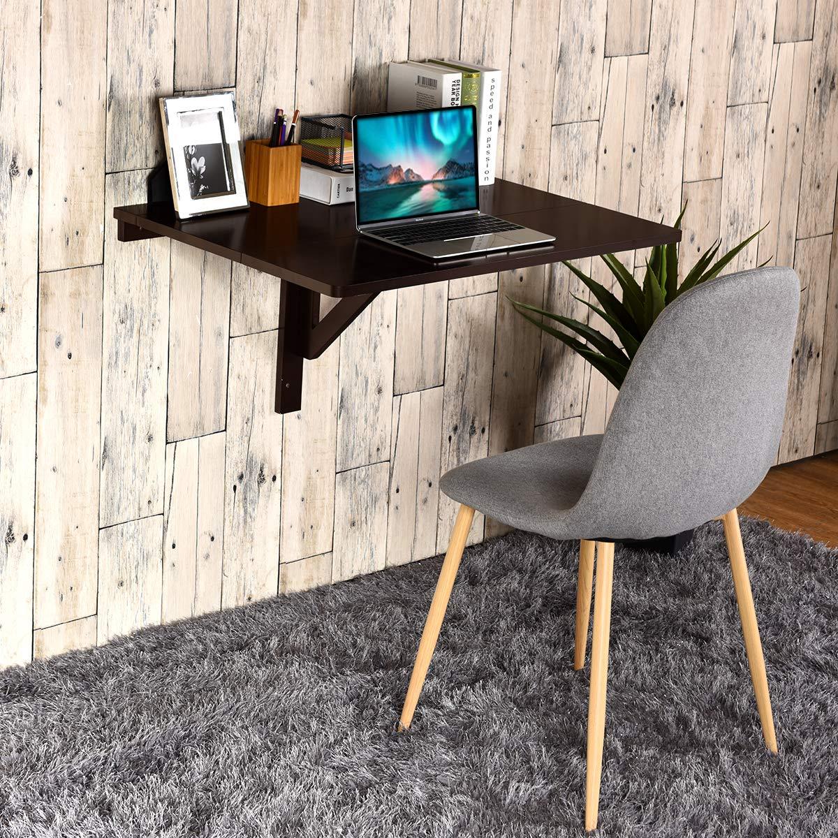 COSTWAY Wandtisch klappbar, Wandklapptisch weiß, 80x60cm, Klapptisch aus Holz (Braun) 2