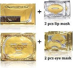Aliver 2pcs 24k Maschera facciale della faccia del bio-collagene dell'oro di + 2pcs Maschera idratante del collagene dell'oro di + 4pairs maschera d'oro polvere d'oro + 4pcs Maschera di labbra dell'oro di
