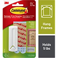 Command Wire-Back Plastic Picture Hanger, Holds 2.2 kg, No Drilling, Holds Strong, No Wall Damage (1 hanger, 2 strips)