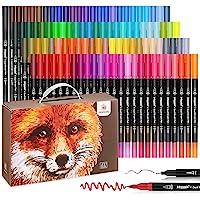 Mancola Stylos à brosse à double pointe à 100 couleurs avec bordure fine Tip 0.4 et Pinceau pour livres à colorier…