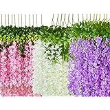 LOGRO Pack of 12piece Artificial Vine Fake Pink, Purple & White Wisteria Hanging Garland Long Hanging Bush Flowers, String Ho