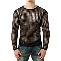 JOGAL Men's Long Sleeve Mesh Fishnet Fitted Muscle Top
