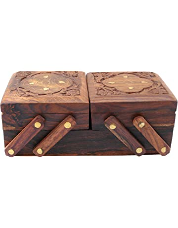 b65760460 ITOS365 Jewellery Box for Women Wooden Flip Flap Flower Design Handmade  Gift, 8 inches