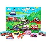 TOWO Juguete de Vehiculo Infantil de Madera para Niños - Tablero de Rompecabezas de Madera - Juguete Educativo de coches para
