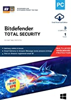 BitDefender Total Security Latest Version with Ransomware Protection (Windows) - 3 User, 1 Year (Email Delivery in 2 hours - No CD)