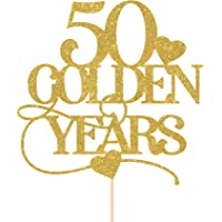 50 golden years cake topper/Wedding anniversary party decor/Gold 50th anniversary