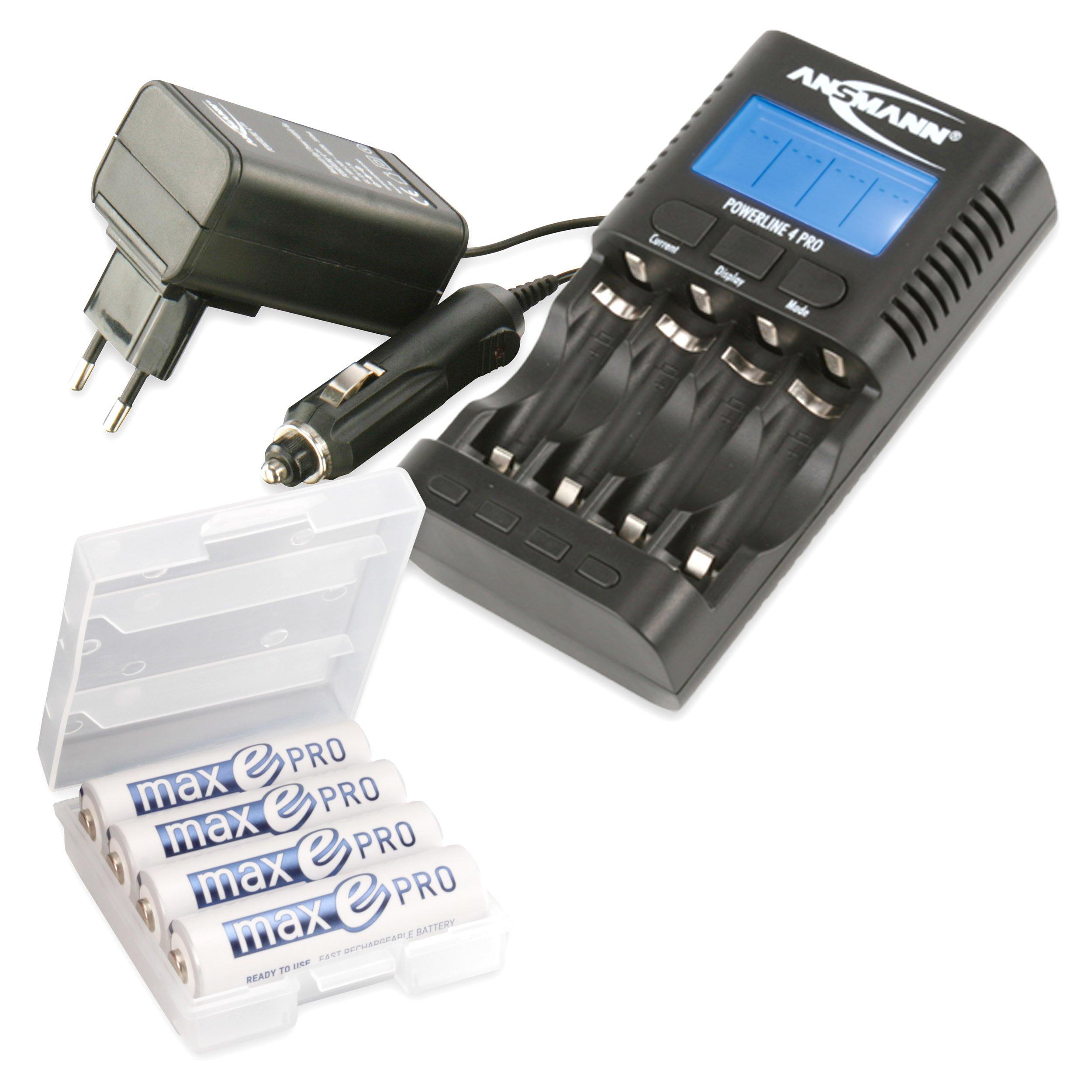 ANSMANN Powerline 4 Pro Caricabatterie per 1-4 Batterie Mignon AA | Micro AAA | USB | incl. 4x AA 24