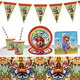 Gxhong Stoviglie per Feste di Compleanno, Set di Decorazioni per Feste, Kit Party Tavola Super Mario Bambini Compleanno Artic