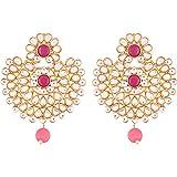 I Jewels Traditional Gold Plated Kundan & Pearl Chandbali Earrings For Women (E2719Q)
