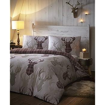 Parure de lit avec housse de couette r versible pour lit double motif animal rouge cerf en - Housse de couette tartan ...