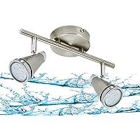 Trango 2 flammes Lampe de salle de bains IP44 à LED I Plafonnier TG1009-22 en nickel mat I, lampe dentrée, lampe de…