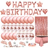 iZoeL Rose Gold Birthday Party Decoration, Happy Birthday Banner, Rose Gold Fringe Curtain, Foil Tablecloth, Heart Star Foil Confetti Balloons and 10g Table Confetti for Girl Women Birthday Party