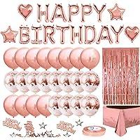 iZoeL Anniversaire Ballon Rose Kit Guirlande Happy Birthday, Nappe Rose Or, Rideau à Franges, 24 Ballons Confettis, 4…