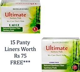 Ultimate BIODEGRADABLE Ultra Thin Soft 27 Pcs Sanitary Pads- Napkins With ANION Chips And 7 Layers Protection (Size: Medium-240mm-10pcs+ Large-280mm-12pcs + XL-340mm-5pcs) + 15 Panty liners Worth Rs.75 FREE