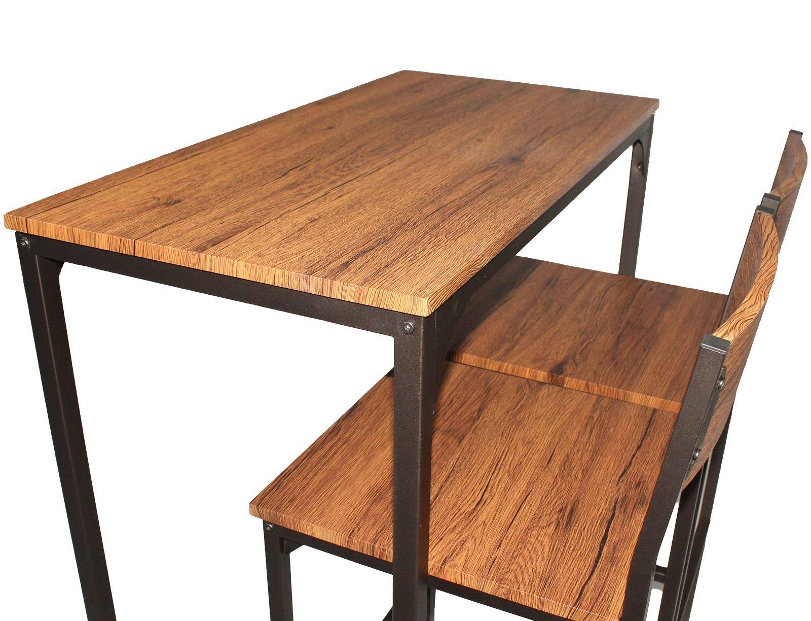 Yelloo set tavolo bar e 2 sgabelli marrone noce pizzeria h96cm
