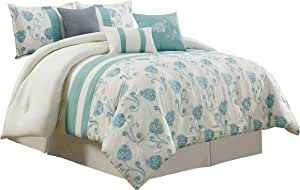 Chezmoi Collection Calais 7-Piece Ivory Teal Floral Embroidered Comforter Set Full