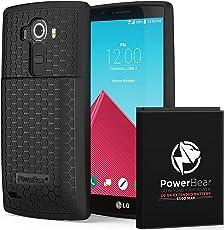 PowerBear® LG G4 Erweiterte Akku [6500mAh] & Rückseitenschutz & Schutzgehäuse (Bis zu 2,15x Zusätzliche Batterieleistung) – Schwarz [24 Monate Garantie & Bildschirmschutz Inbegriffen]