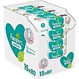 Pampers Lingettes Sensitive, Aident à Protéger la Peau des irritations et Sans Parfum ni Alcool, Lot de 15x80 Lingettes (Tota