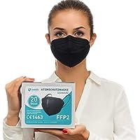 """health2b FFP2 Maske Schwarz CE Zertifiziert [20 Stück] CE1463 Atemschutzmaske Mundschutz, DERMATEST® """"sehr gut"""""""