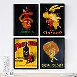 Nacnic Set 4 Stampe artistiche Vintage pubblicità Campari, Cinzano, Cognac. Manifesto d'Epoca. alcolici. 250 Grammi di…