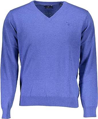 GANT Men's Light Weight Cotton Long Sleeve V-Neck Jumper, Blue (Blue Melange),Small