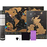 Scratch Off World Map A3 Travel Size (42 x 29.7cm) + BONUS A4 UK Map - with Accessories Kit and Gift Tube - Deluxe Cartographic design by Atlas&Green
