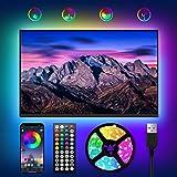 WOANWAY LED TV Retroilluminazione 3M,Striscia LED RGB USB con Telecomando e APP,Striscia LED Musicale 8 Modalità 16 Milioni C
