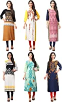 1 Stop Fashion Women's crepe straight Kurta (Pack of 6)